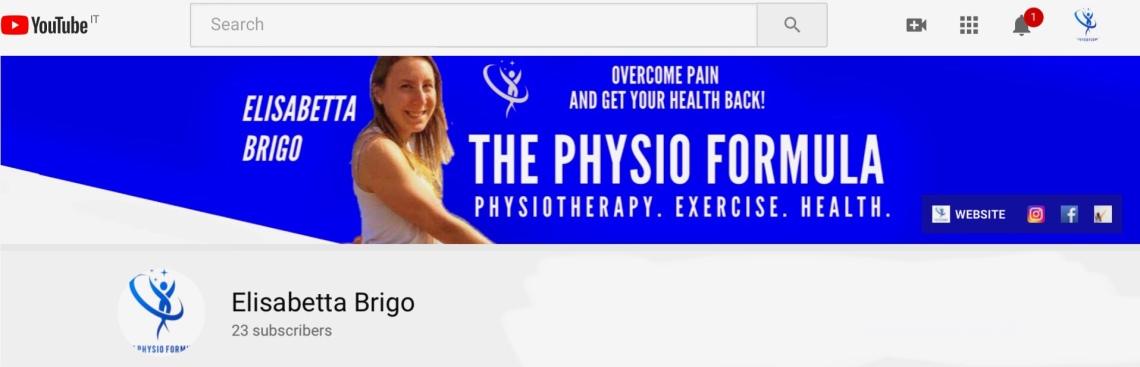YouTube Channel banner, elisabetta brigo, Physiotherapy, the physio formula